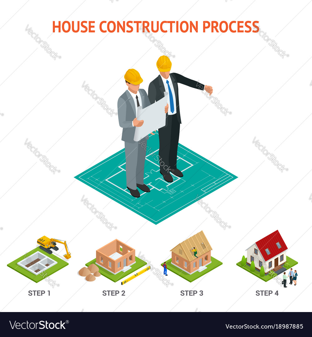 Isometric set stage-by-stage construction of a