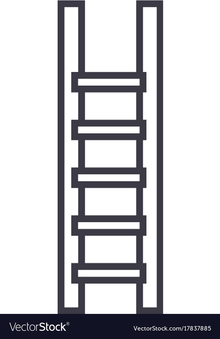 Ladderstairs line icon sign