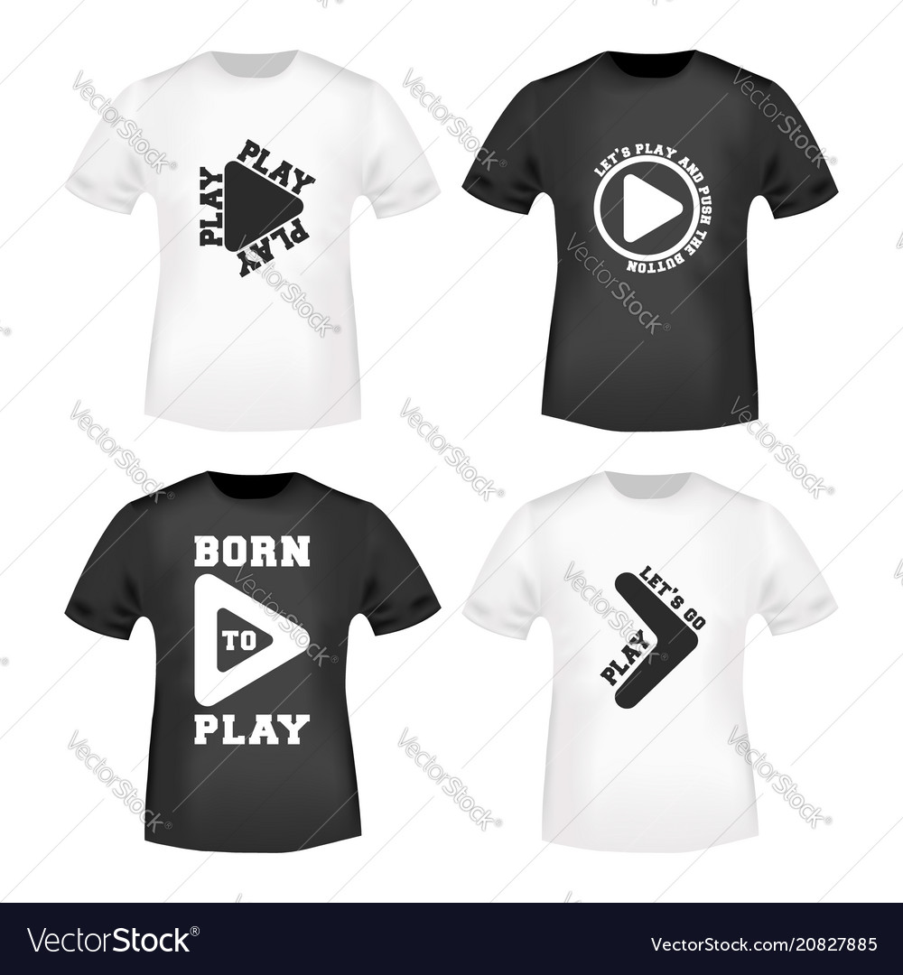 play button stamp and t shirt mockup royalty free vector