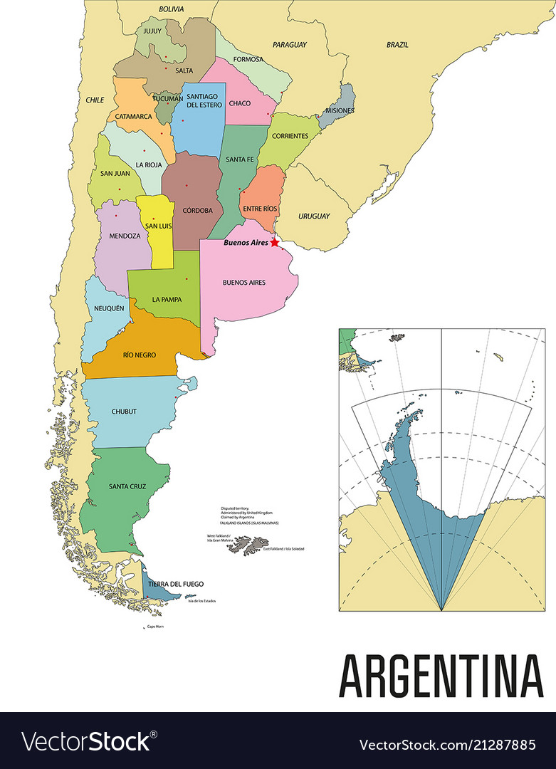 Political map of argentina Royalty Free Vector Image