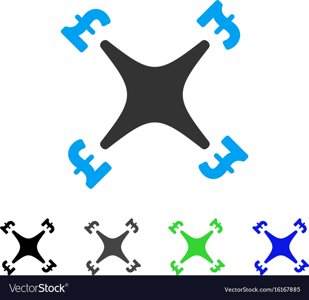 Pound business drone flat icon