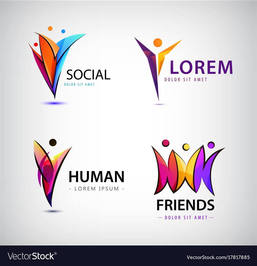 Set of human logos men group leader