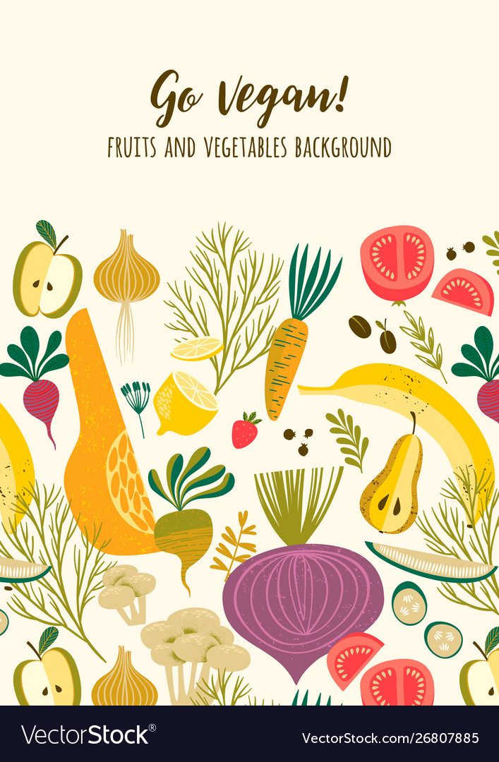 Template with vegetables and fruit vegan