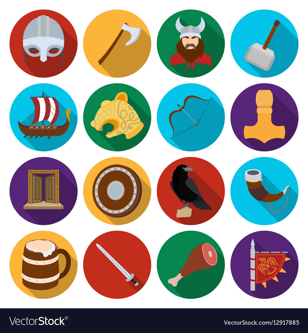 Vikings set icons in flat style Big collection of
