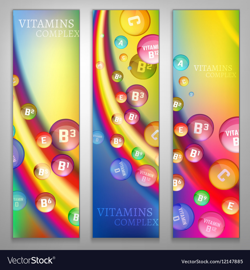 Vitamins Rainbow Banners vector image