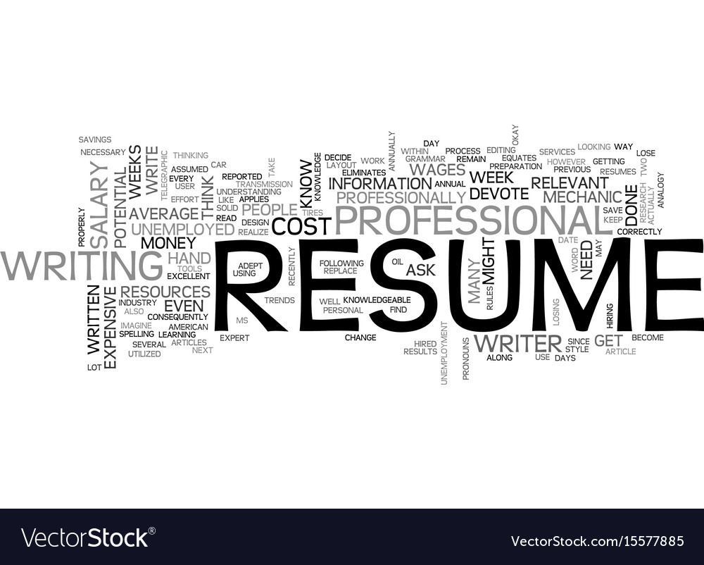 what does your resume cost text word cloud concept