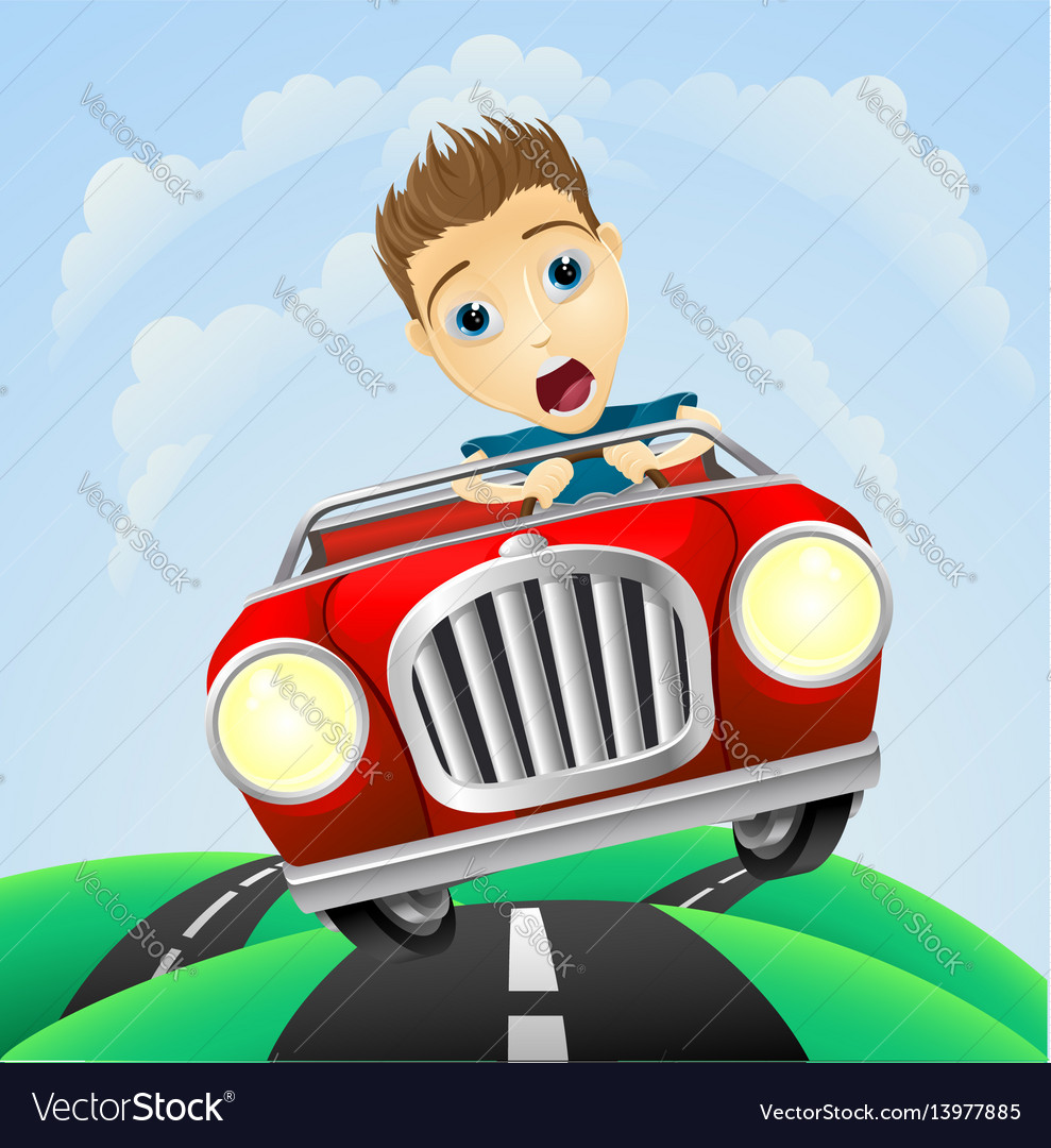 Young man driving fast classic car