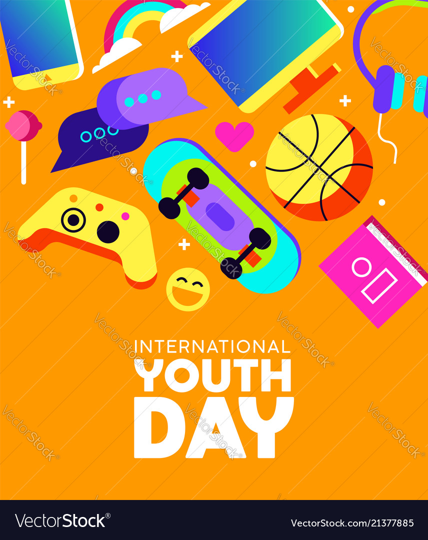 Youth day card of fun teen activity icons