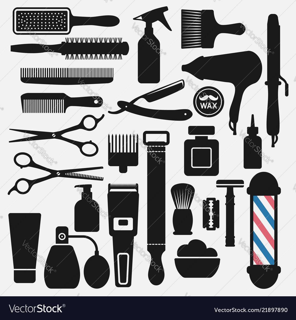 Barbershop tools icons set