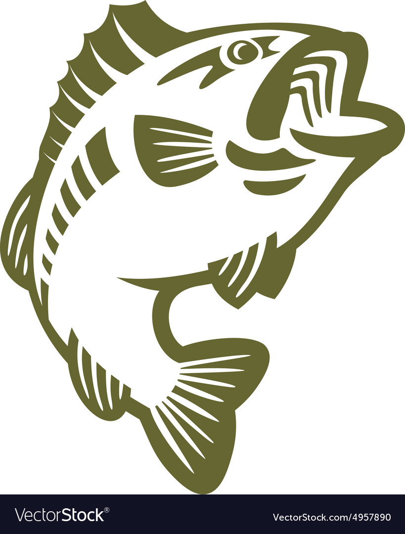 Bass fish logo vector image