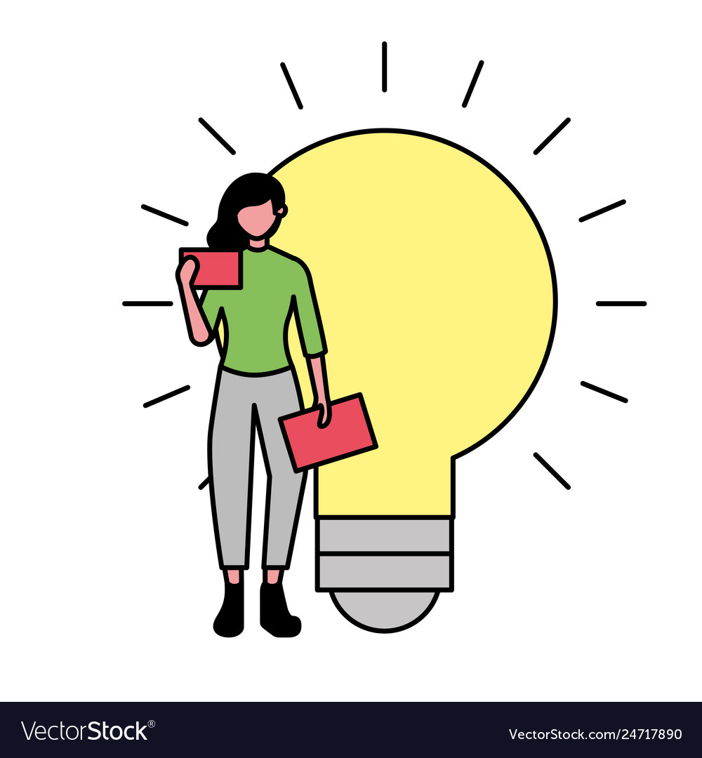 Business woman with mobile and bulb idea