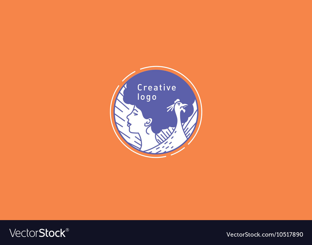 Creative logo the girl s face in profile and the vector image