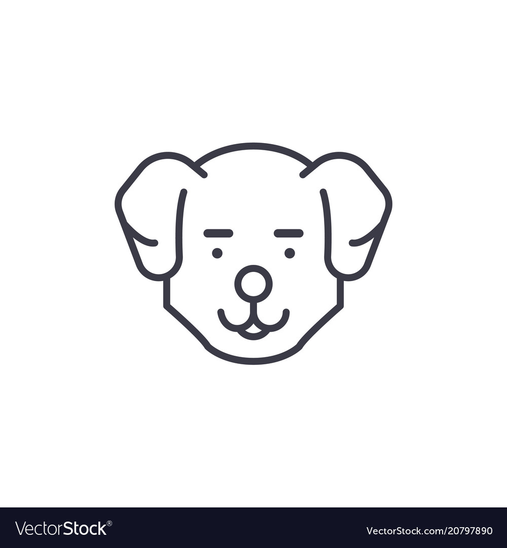 Cute dog head line icon sign