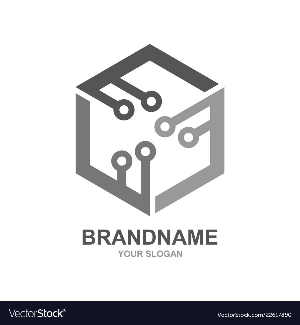 Digital box cube tech shattered logo