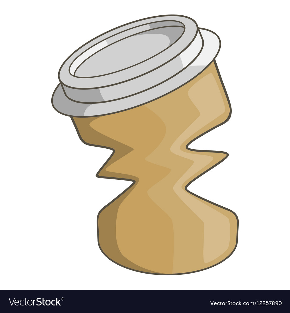 Disposable coffee paper cup icon cartoon style