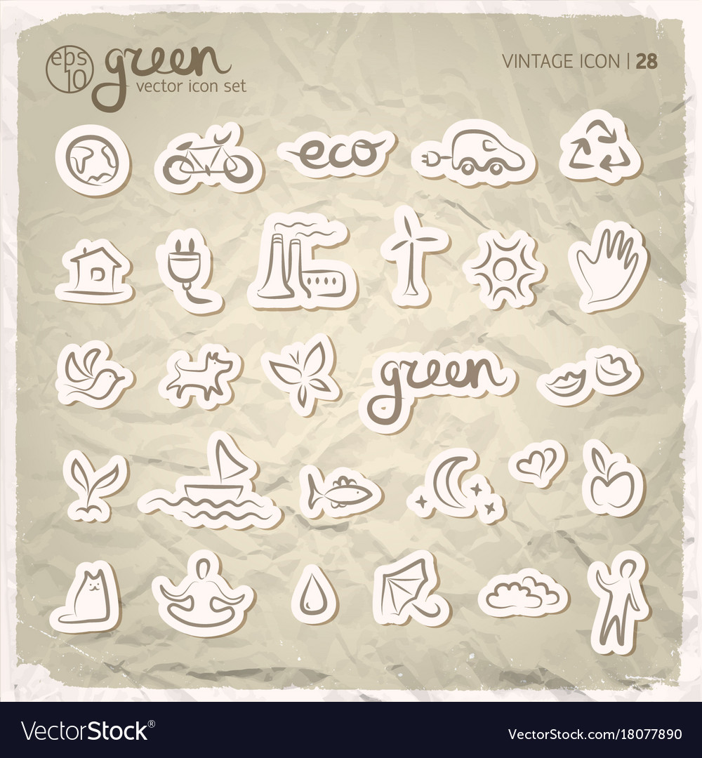 Ecology signs and icons set vector image