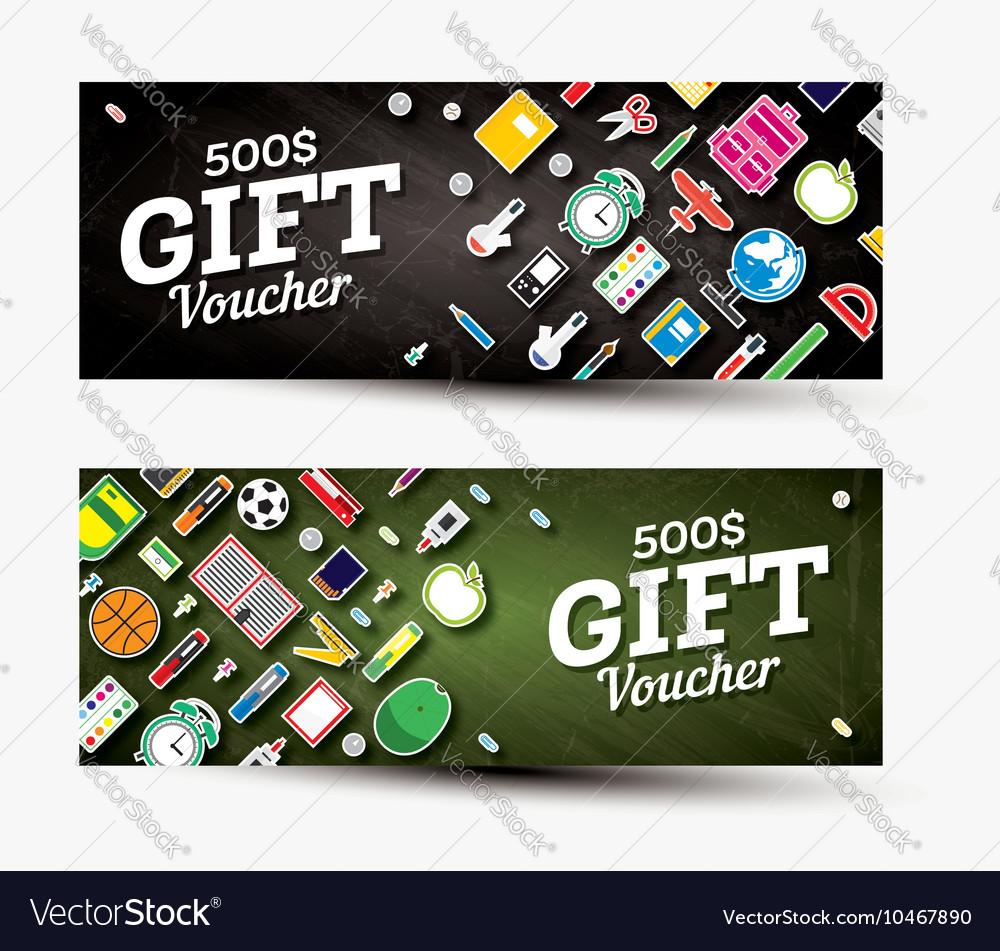 Gift voucher template with school supplies vector image