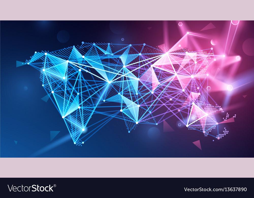 Global network polygonal background vector image