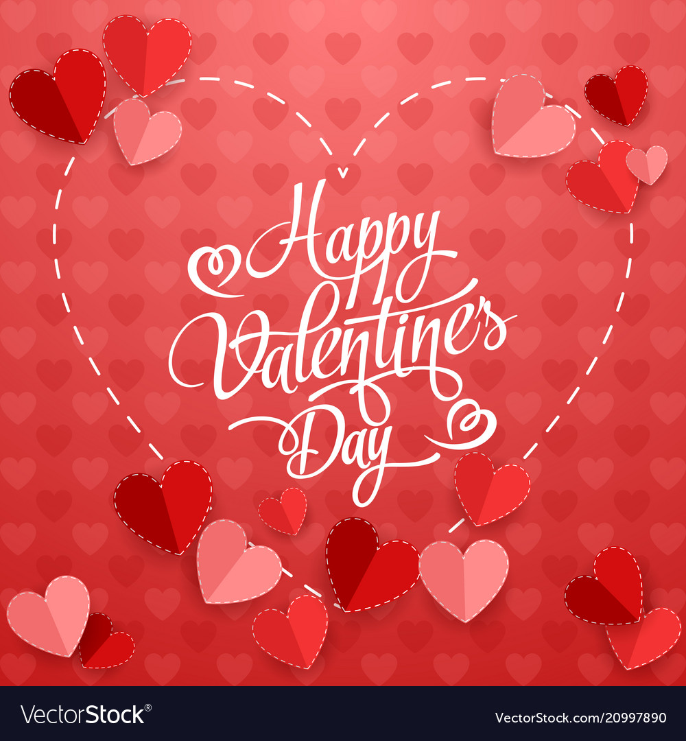 Happy valentines day with paper heart on red