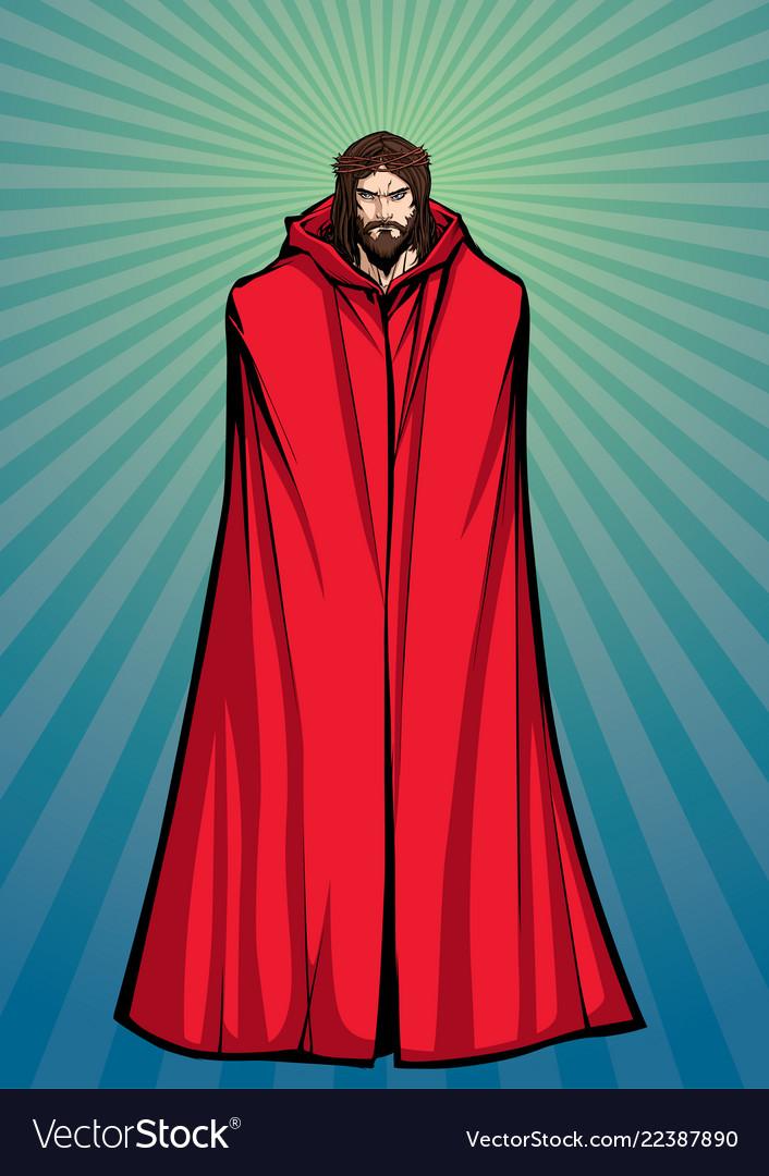 Jesus superhero standing tall
