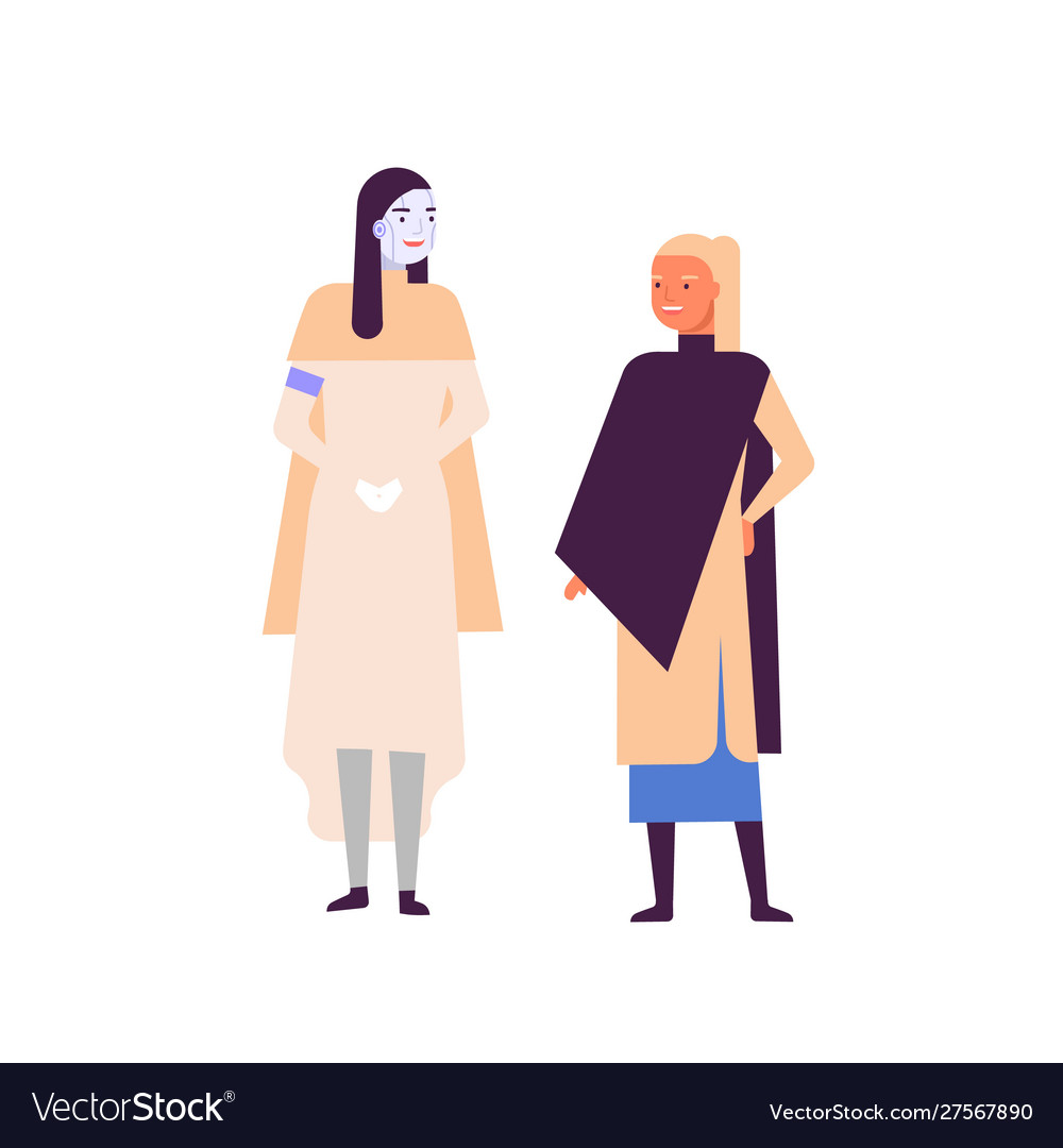 Robot and woman standing together flat