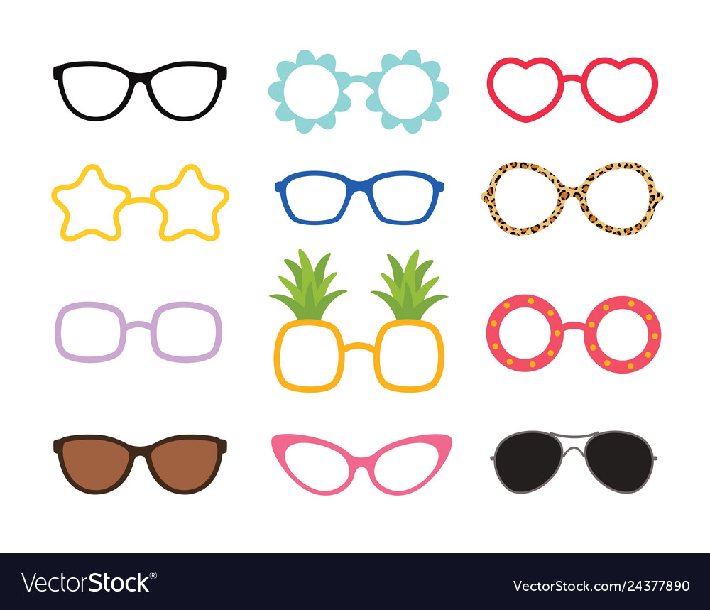 Set of real colorful style cute glasses party