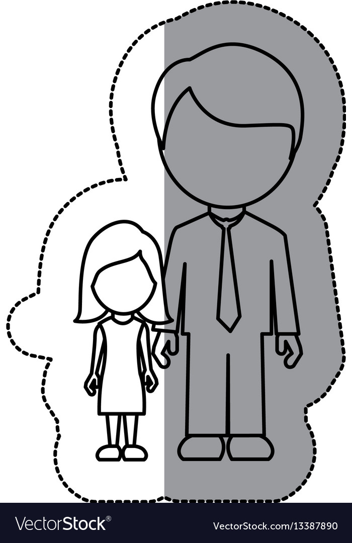 Silhouette man with her dougther icon vector image