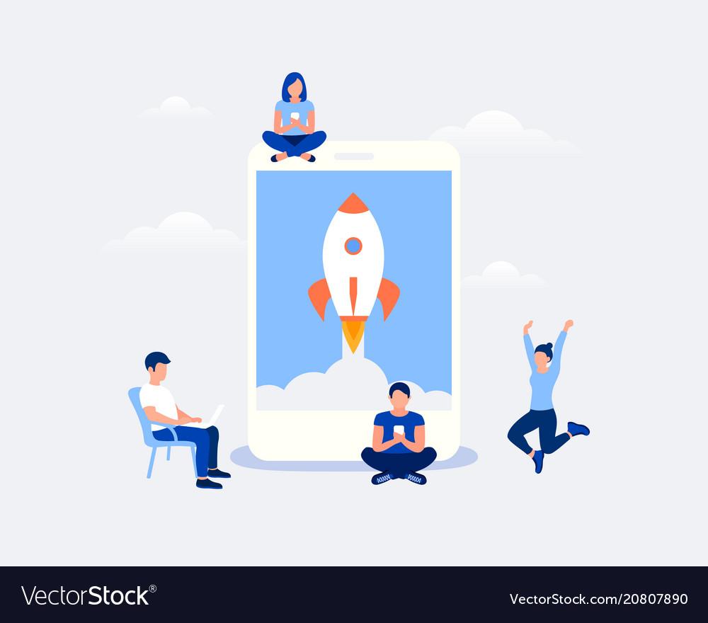Startup mobile app design concept vector image