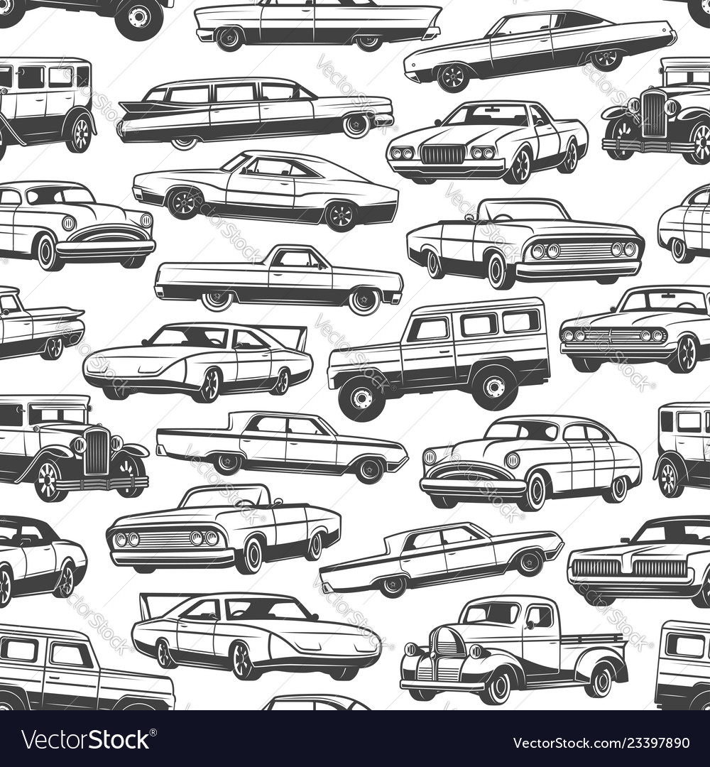 Vintage cars and auto seamless pattern background