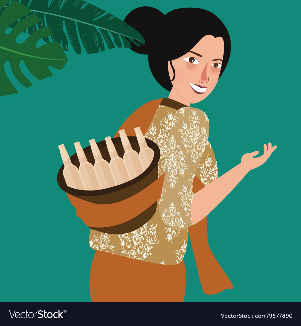 Woman bring traditional drink in Indonesia