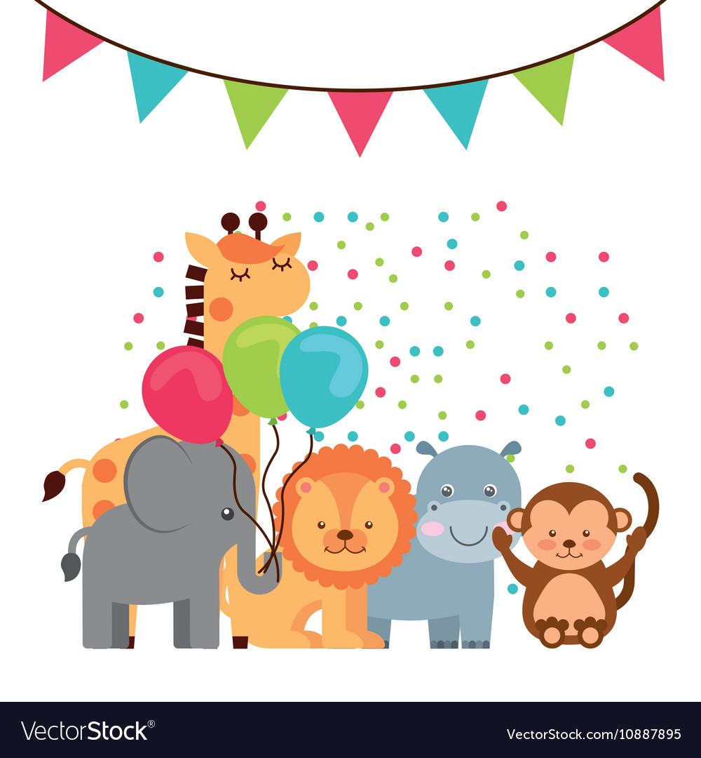 animal cute birthday party celebration royalty free vector