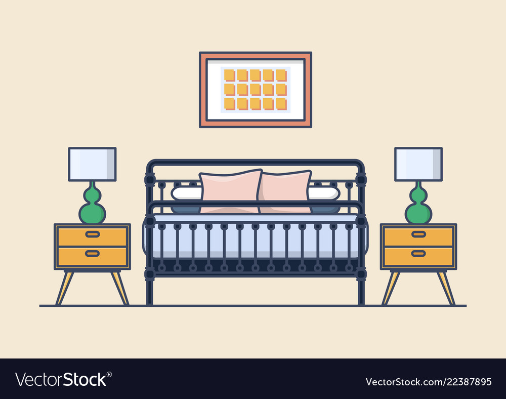 Bedroom interior with bed and nightstand lamp
