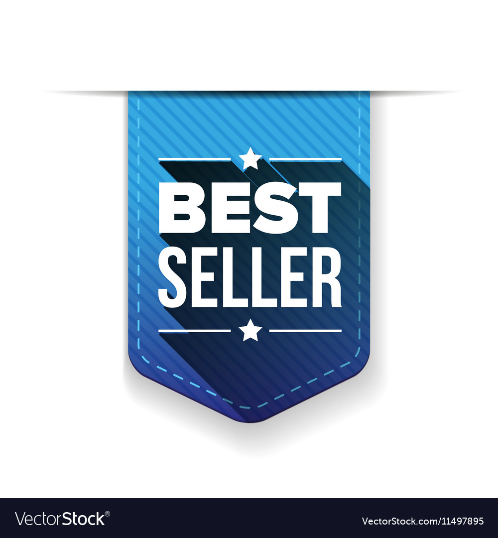 Best Seller blue ribbon vector image