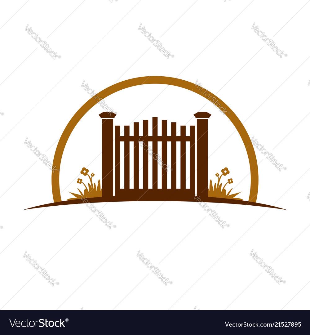garden old gate logo symbol graphic design vector image rh vectorstock com Vector Flower Black and White Gate White Background