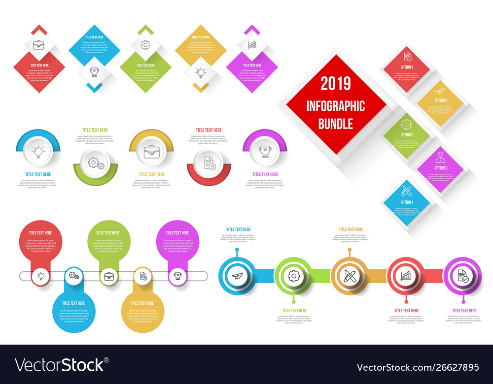 Modern infographic bundle template 5 options or