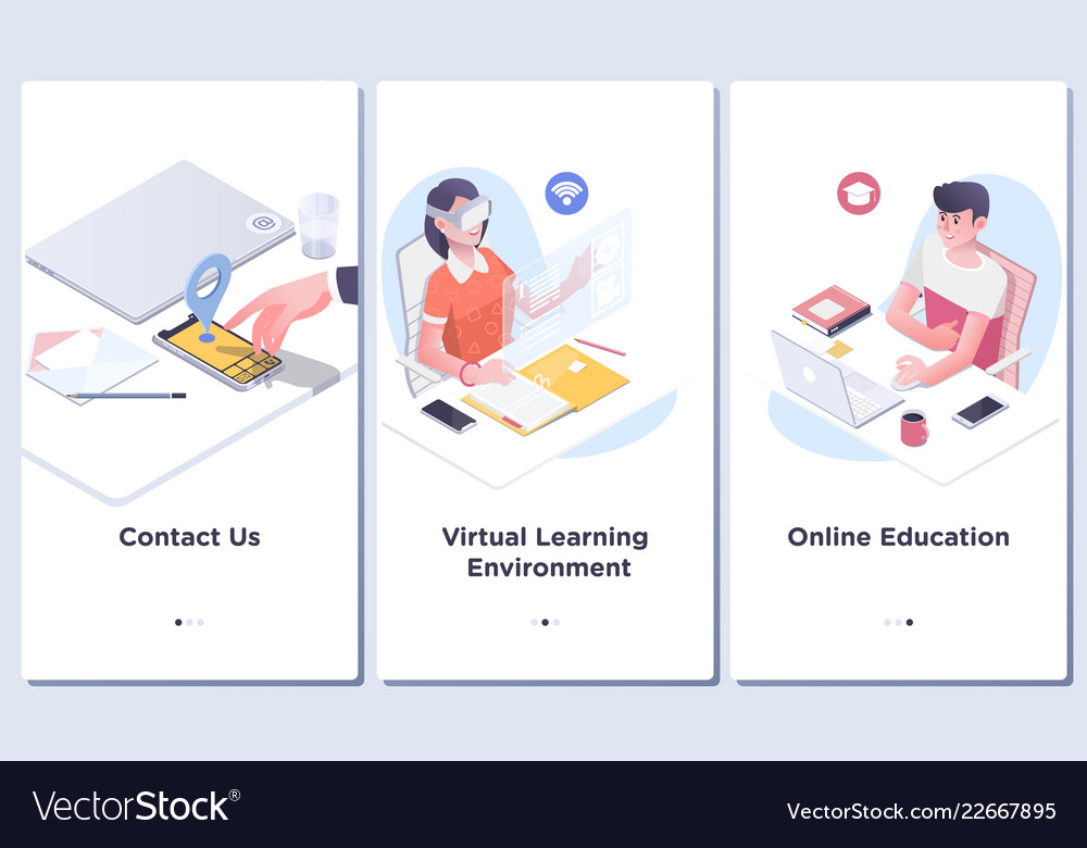 Online education conceptmodern user interface ux