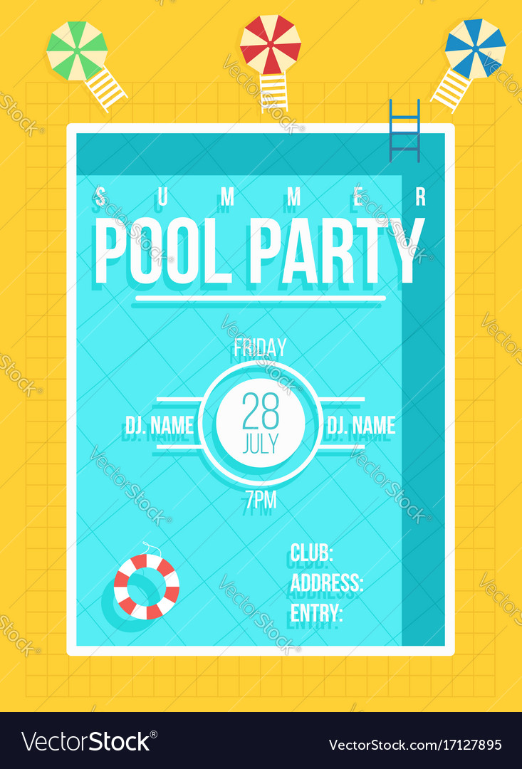 Pool party poster summer party invitation flyer vector image stopboris Gallery