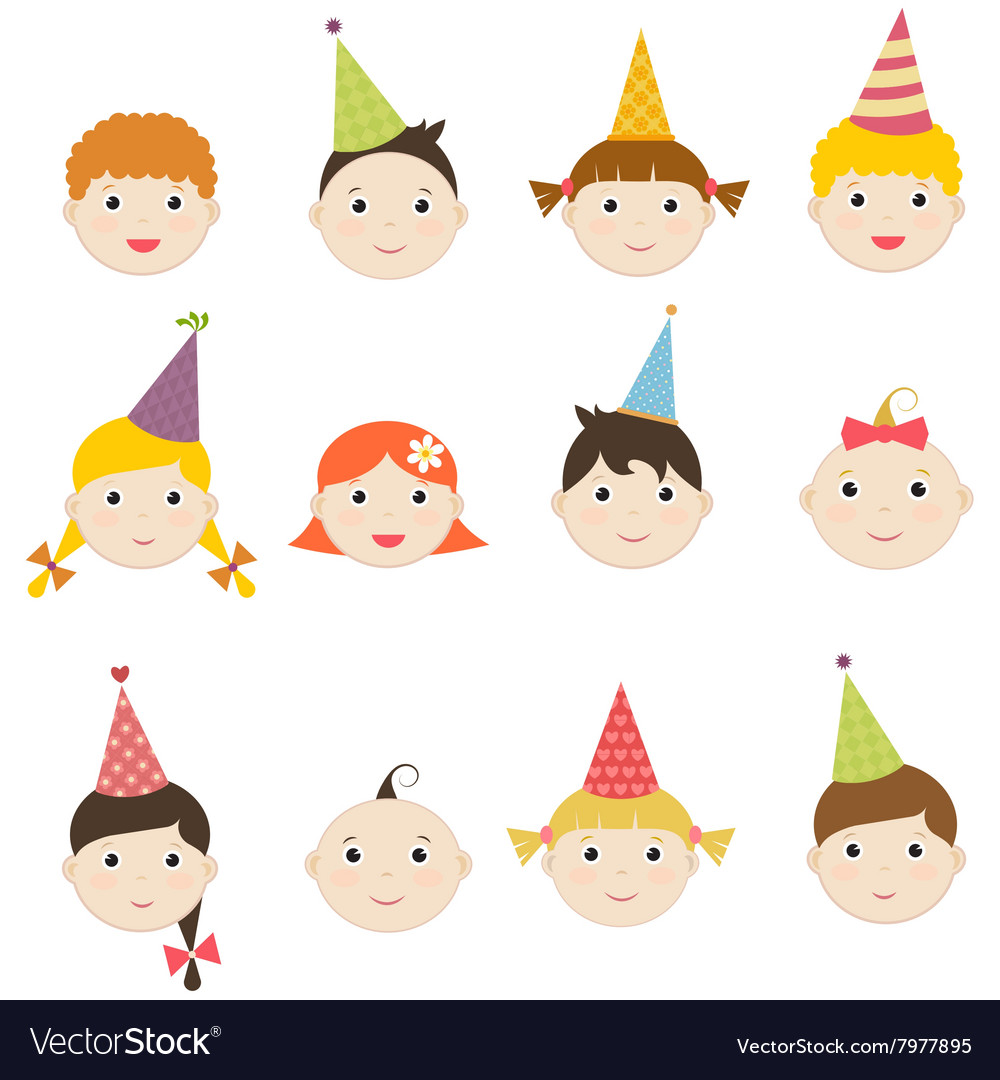 Set of children with birthday hats vector image