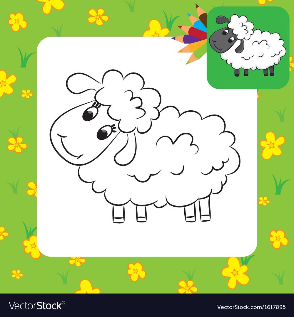 Sheep coloring page Royalty Free Vector Image - VectorStock