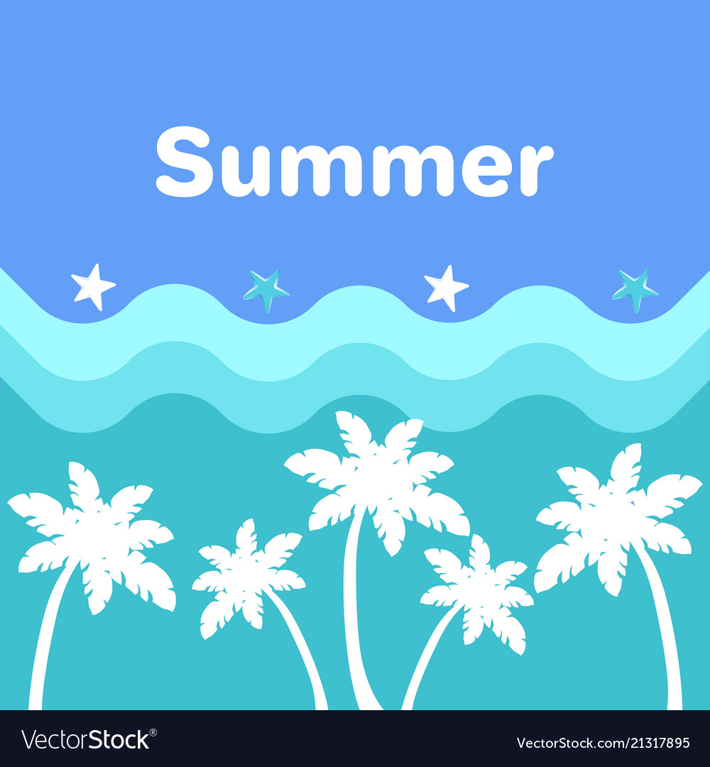 Summer poster with palm trees blue sea waves