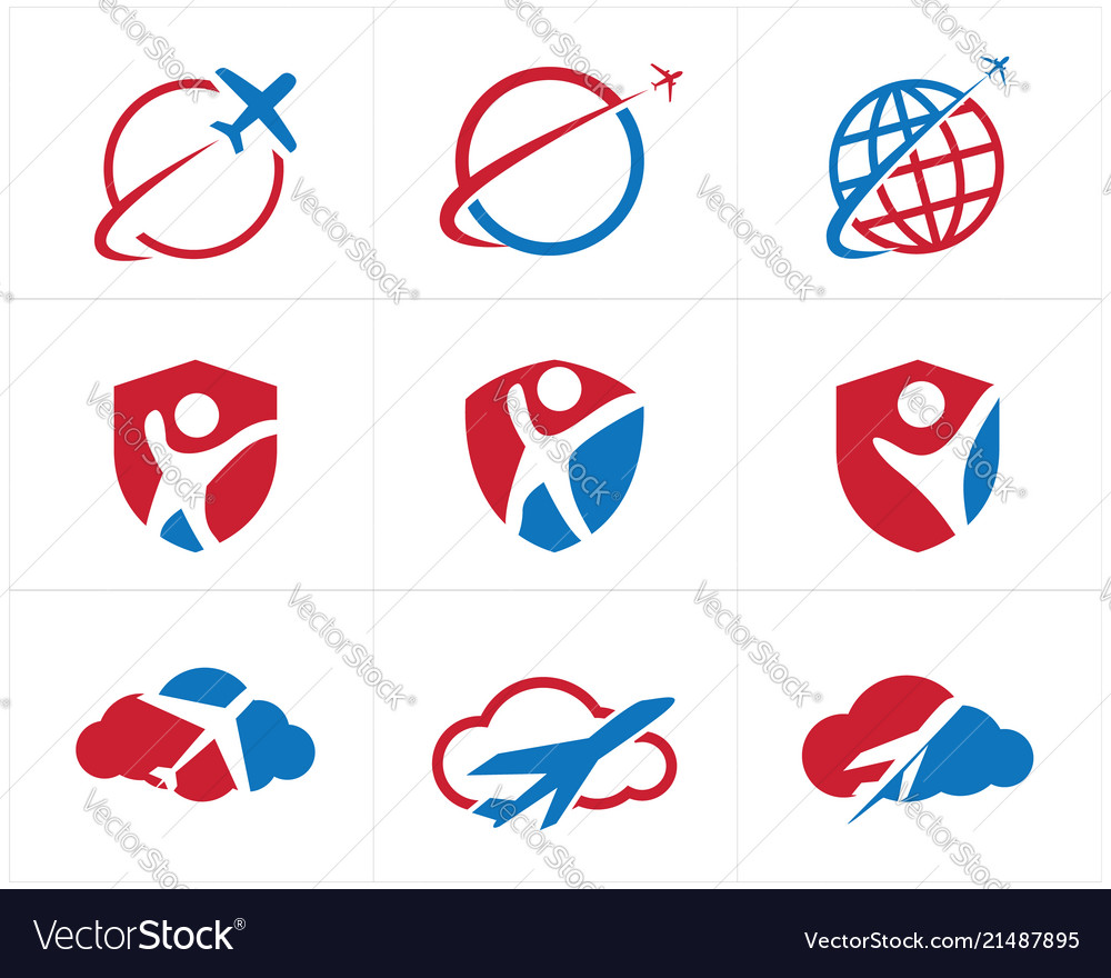 Travel logos set airplane in shield icons