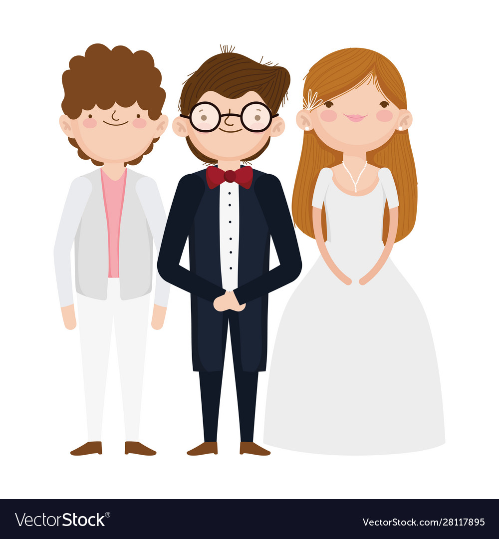 Wedding bride and grooms cartoon characters