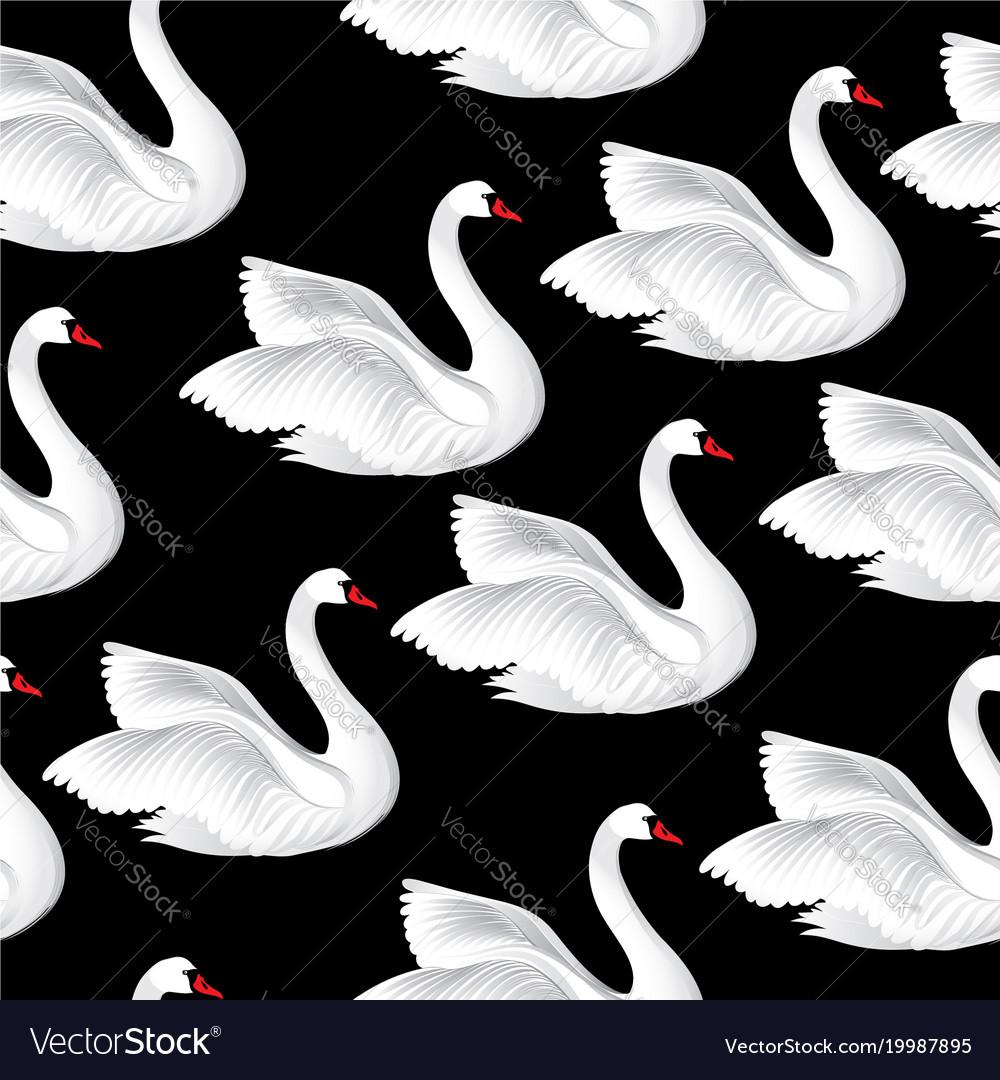 White birds seamless pattern wildlife background