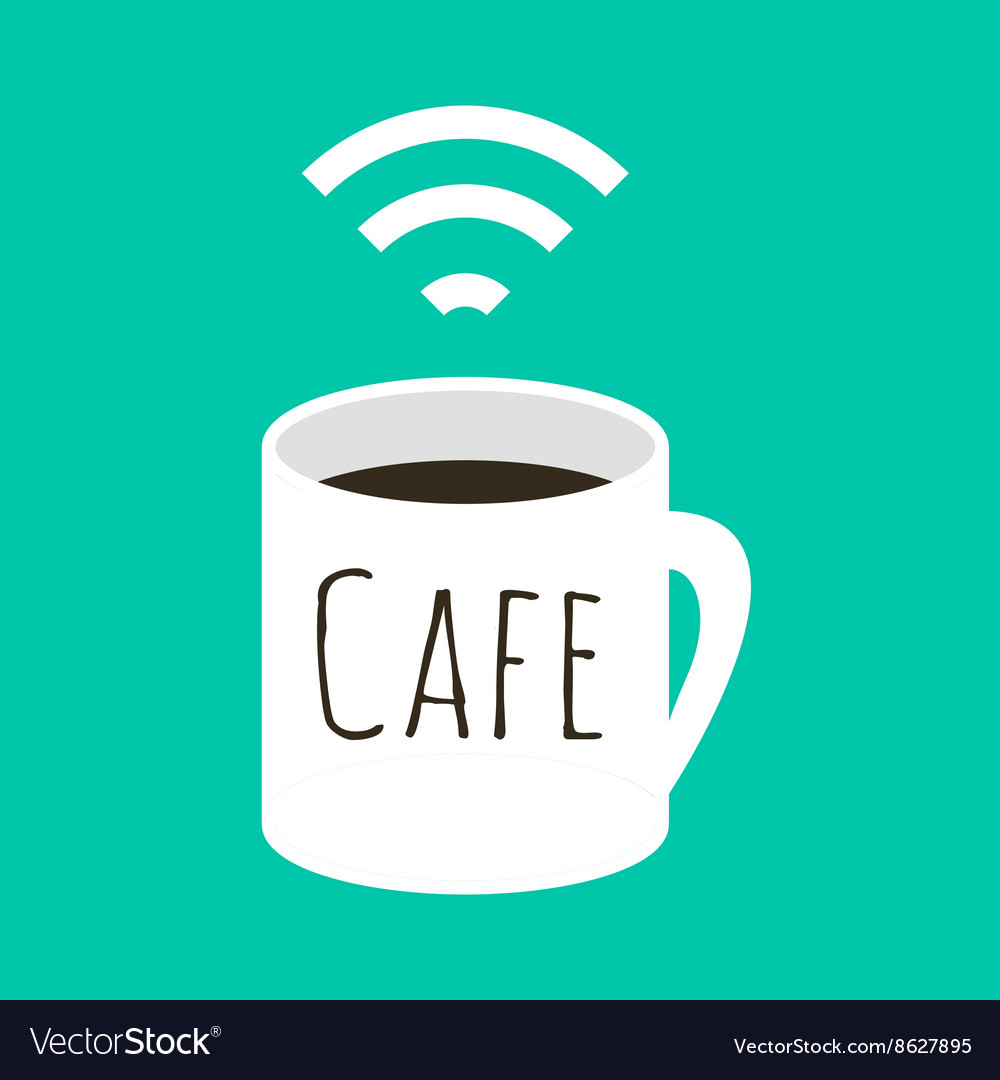 Wifi cafe a cup coffee and