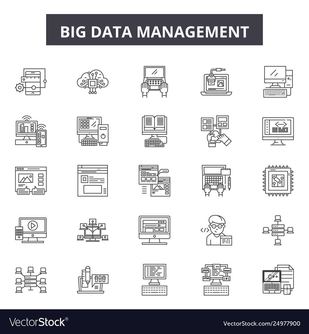 Big data management line icons signs set