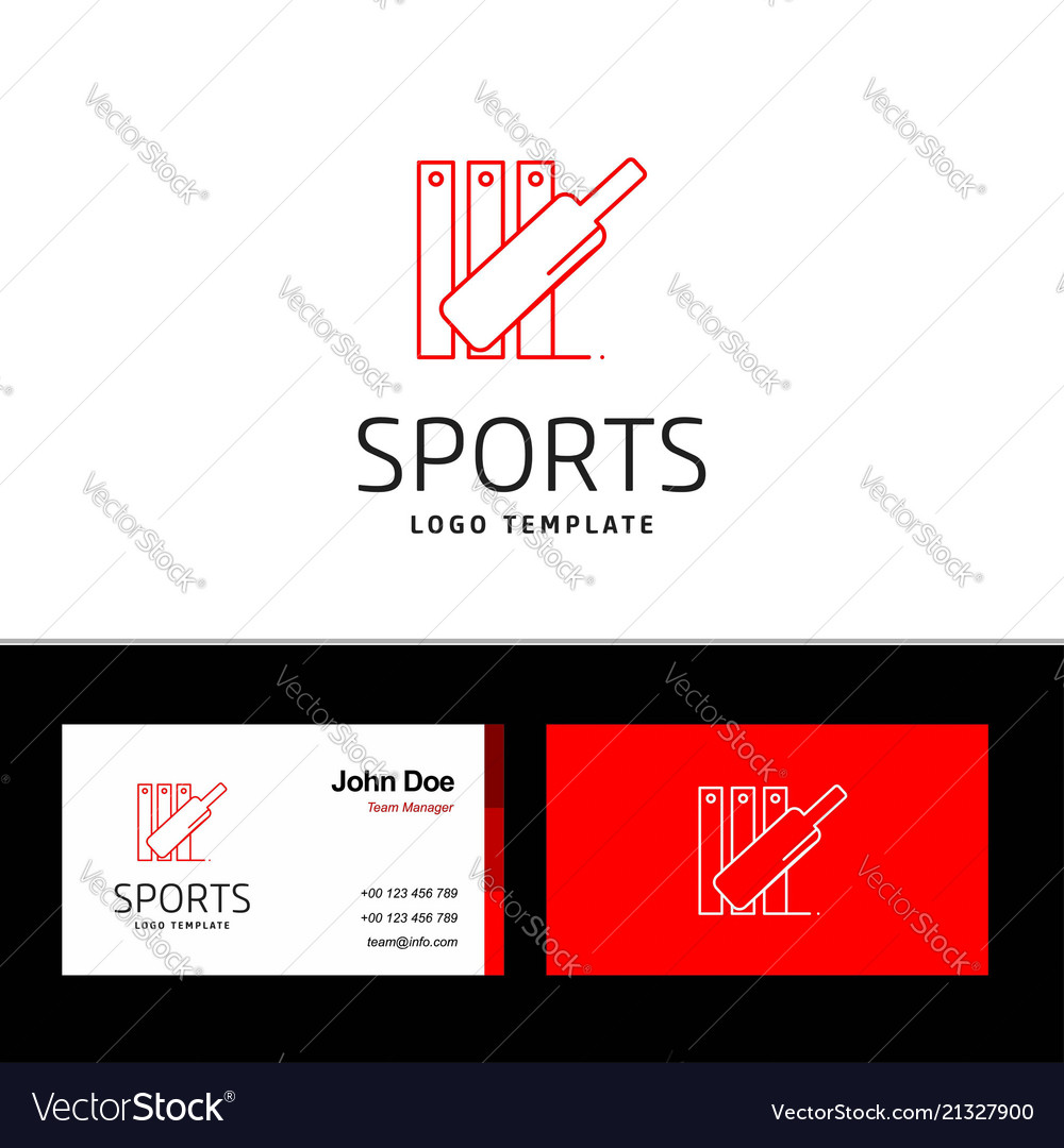 Business card of sports with red and white theme vector image colourmoves