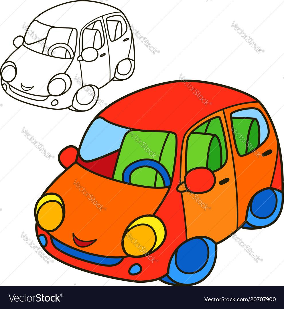 Car coloring book page cartoon