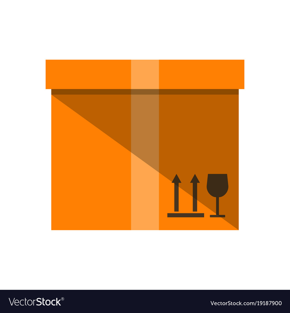 Cardboard box icon in flat design vector image