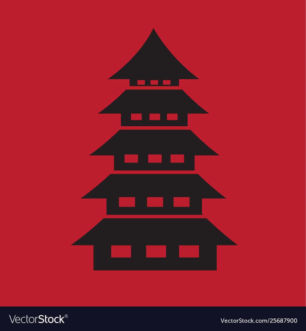 Chinese pagoda temple icon on dark red background