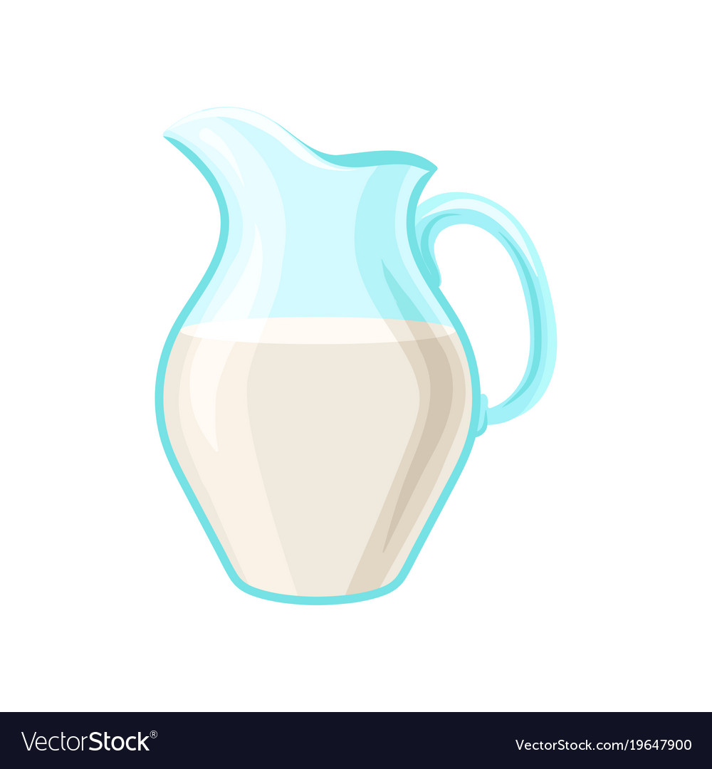 glass pitcher of milk dairy product cartoon vector image